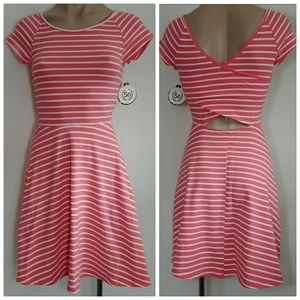 SO CROSSBACK SKATER STRIPED DRESS